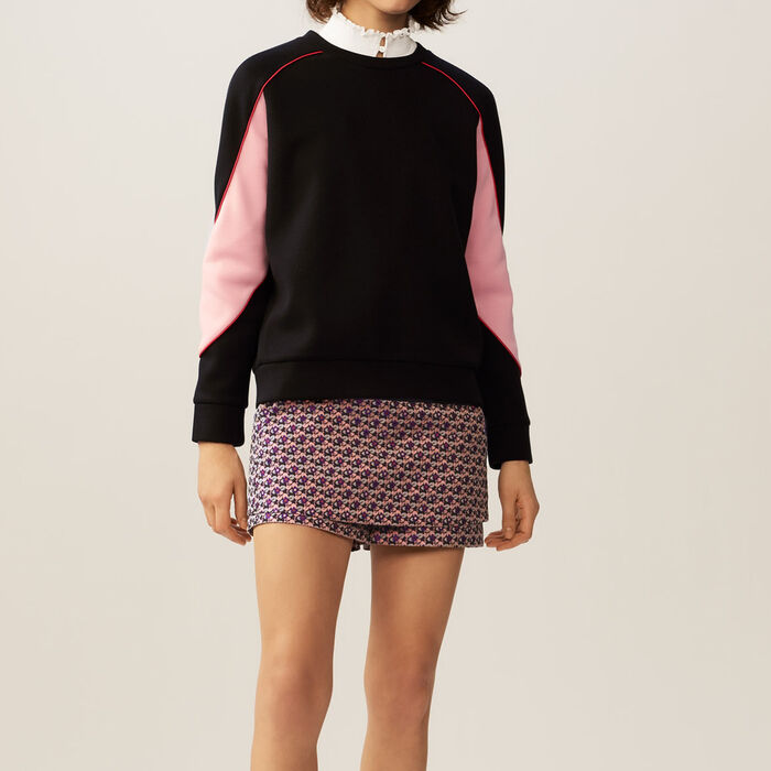 Sweatshirt mit farbigen Details : Strickwaren farbe Schwarz