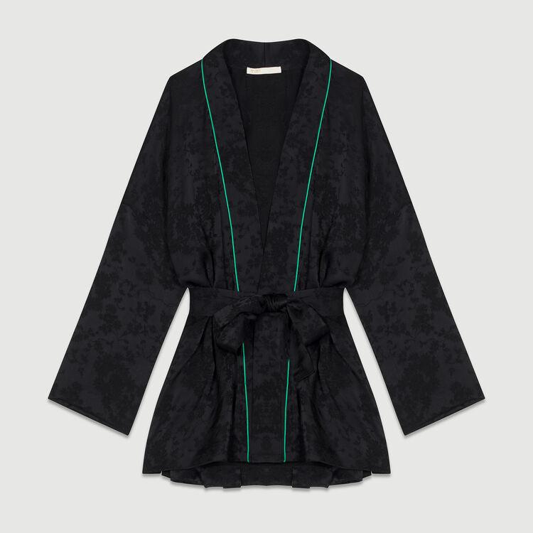 Jacqurd-Jacke im Kimono-Stil : Blazers farbe Schwarz