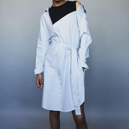 Gestreiftes unstrukturiertes Hemdkleid : Kleider farbe Gestreift