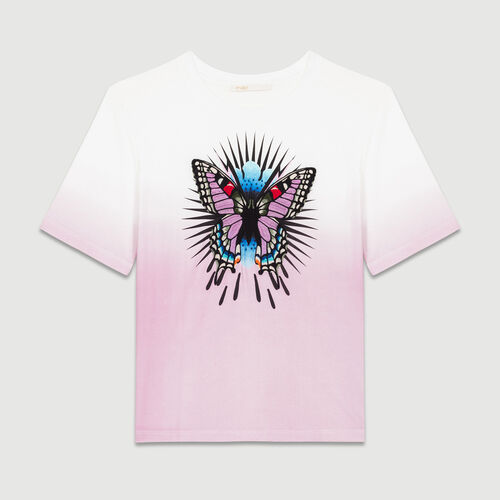 T-Shirt mit aufgesticktem Schmetterling : T-Shirts farbe LILA