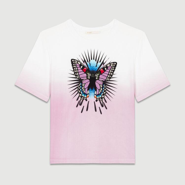 T-Shirt mit Schmetterlingsstickerei : T-Shirts farbe LILA