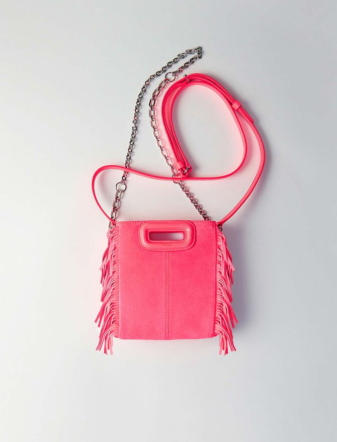 Tasche mit gekreuztem Riemen aus Leder - M Mini - MAJE