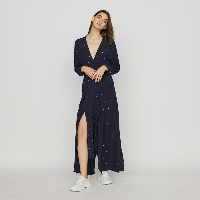Langes Kleid mit Nieten : Kleider farbe Marineblau