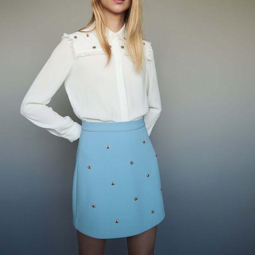 Rock mit aufgestickten Bienen : Röcke & Shorts farbe Himmelblau