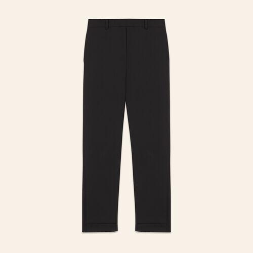 7/8-Hose aus Krepp : Hosen farbe Schwarz