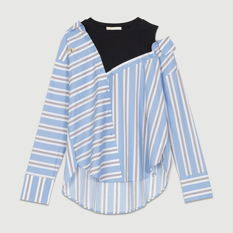Gestreiftes, strukturloses Popeline-Hemd : Blau farbe Himmelblau