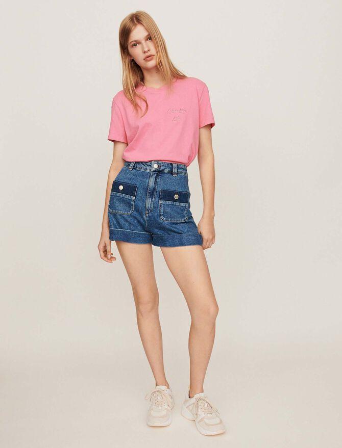 Weite Denimshorts mit Taschen - Röcke & Shorts - MAJE