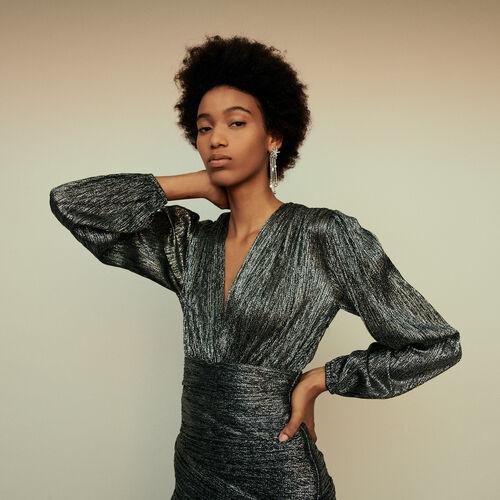 Gerafftes Kleid aus Lurex : Winter Kollektion farbe Silber