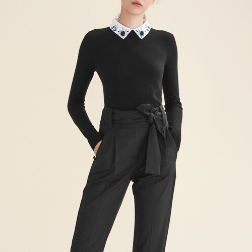 Pullover mit Hemdkragen und Strass : Pulls & Cardigans farbe Schwarz