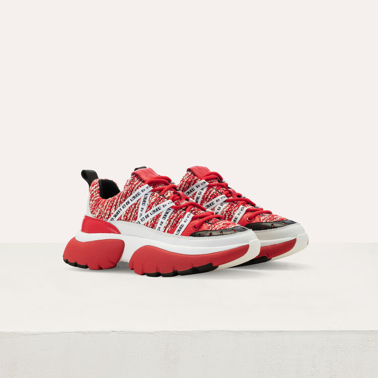 W20 Ledersneaker mit Tweed-Effekt : Sneakers farbe Rot