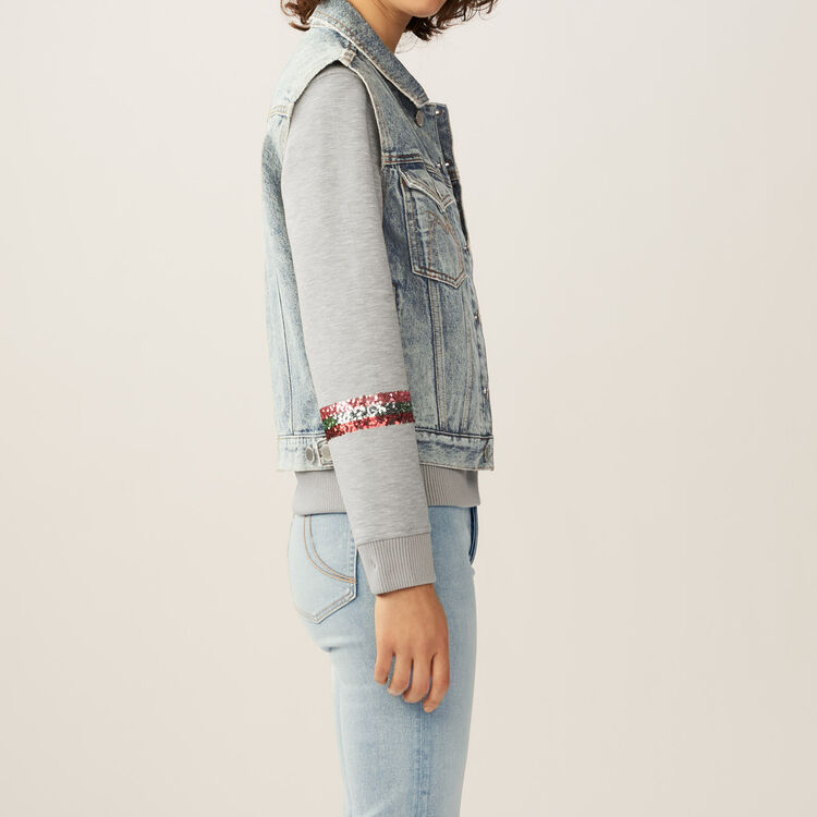 Ärmellose Jeansjacke : Jacken farbe Blau