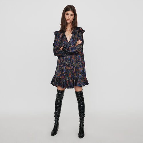 Babydoll Kleid mit Jacquard Print : Kampagne FW19 farbe Marineblau