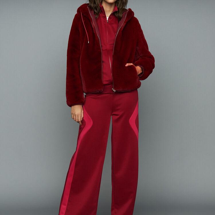 Kurze Kunstfelljacke : Jacken farbe Himbeerrot
