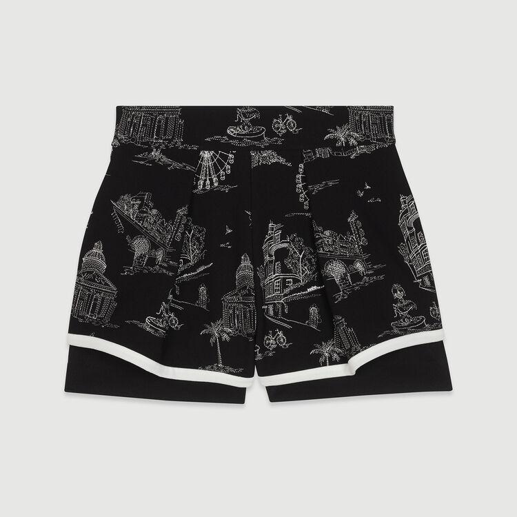 Shorts aus bestickten Krepp : Röcke & Shorts farbe Schwarz