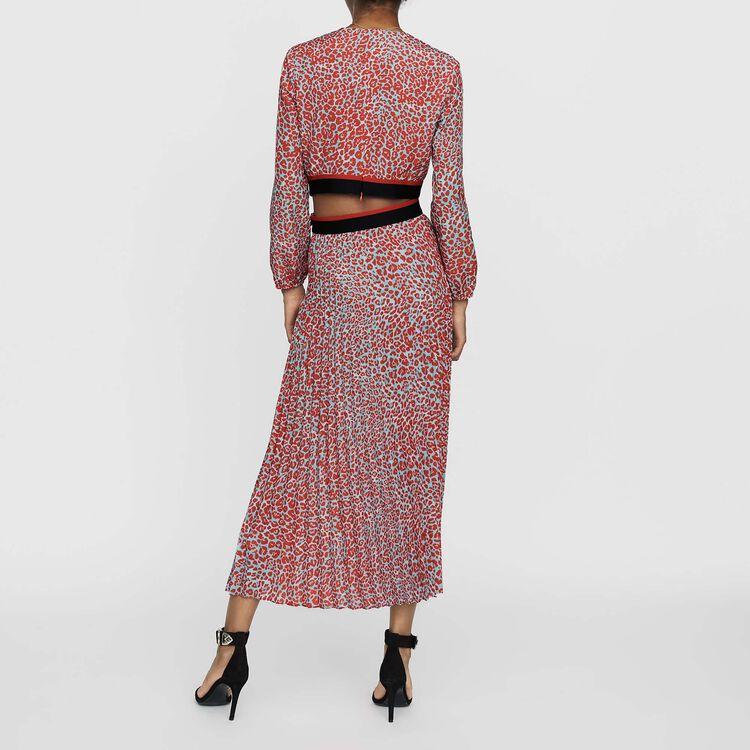 Langes Plissee-Kleid mit Print : Bekleidung farbe IMPRIME