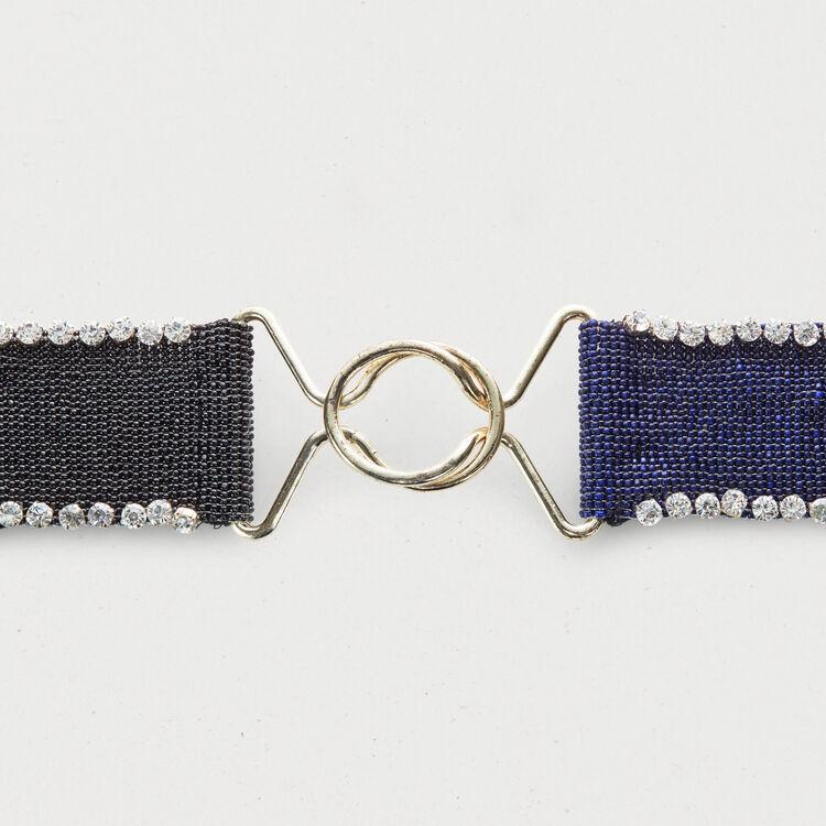 Zweifarbiger Gürtel mit Perlen : Gürtel farbe Mehrfarbigen