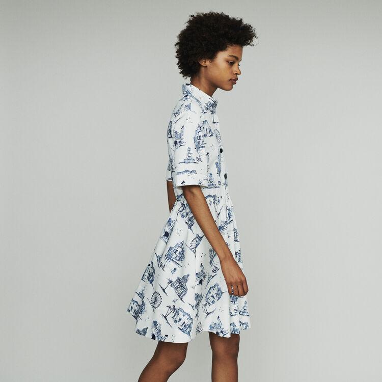 Kurzes Hemdkleid mit Paris Print : Kleider farbe Ecru