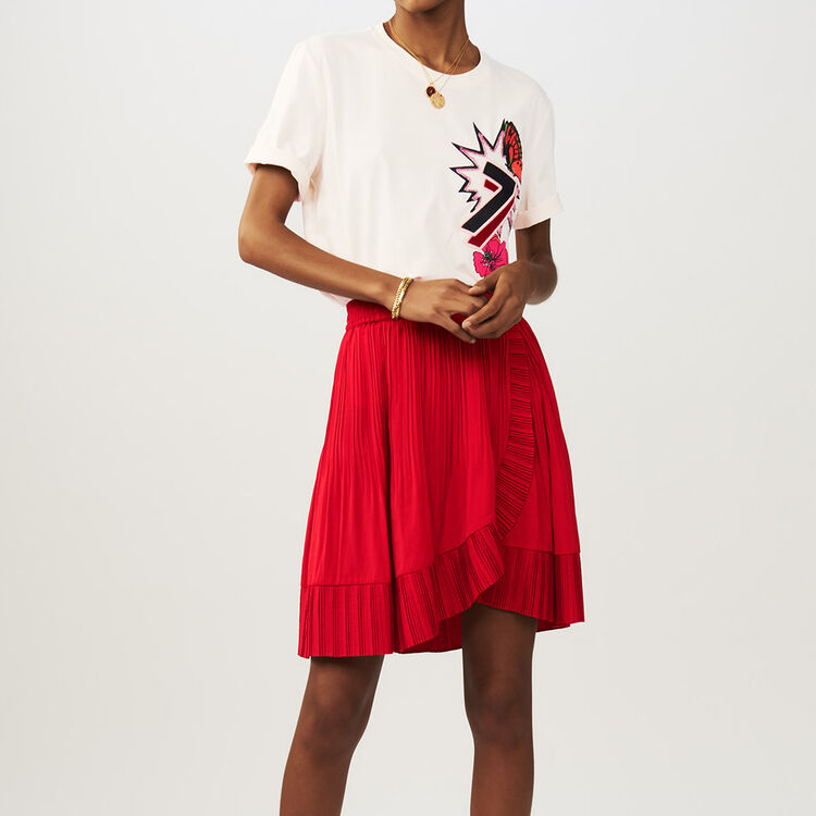 Wrap short pleated skirt : Röcke & Shorts farbe ROUGE