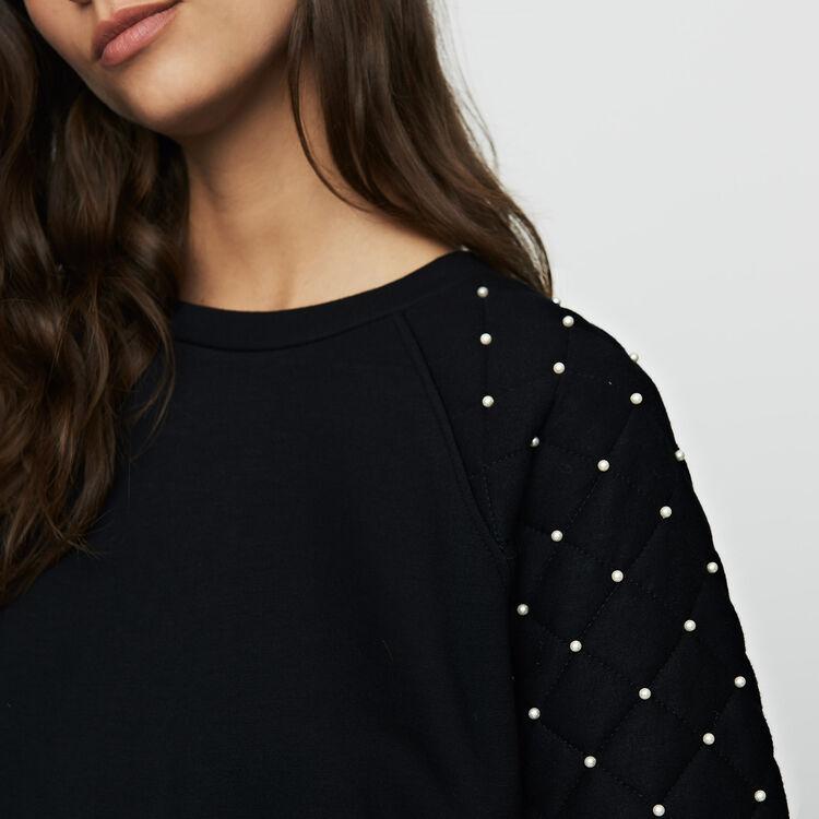 Sweatshirt mit Perlen : Strickwaren farbe Schwarz