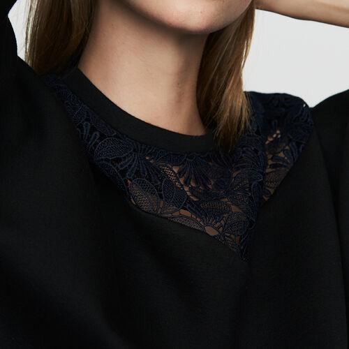 Sweatshirt mit Spitze : Sweatshirts farbe Schwarz