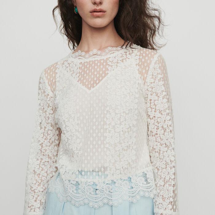 Guipure Top : Tops & Hemden farbe Weiss