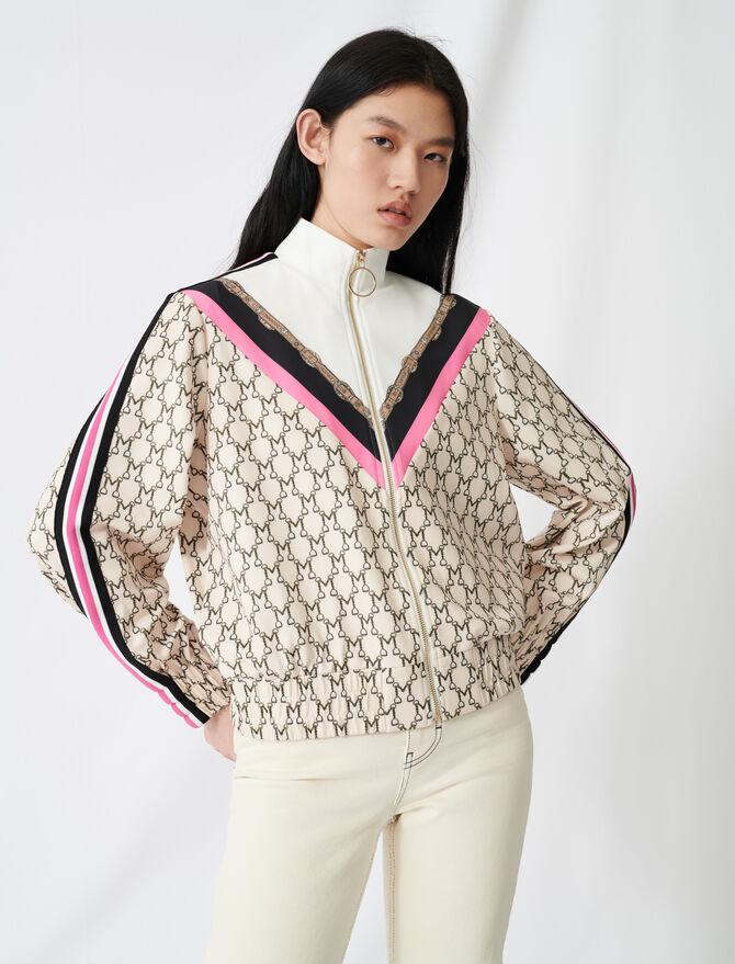 Sweatshirt mit Allover-Monogramm - Pullover & Strickjacken - MAJE