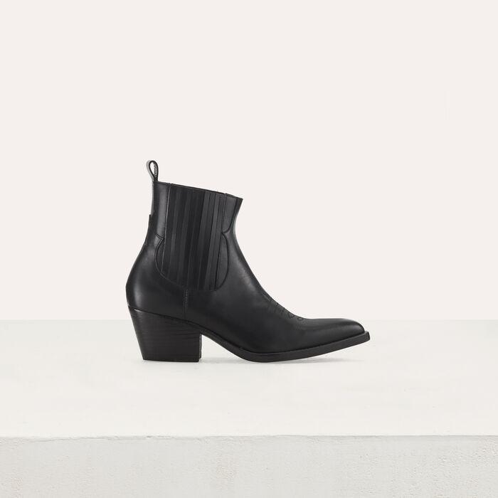 Bottines en cuir à découpes western : Stiefel & Boots farbe Schwarz