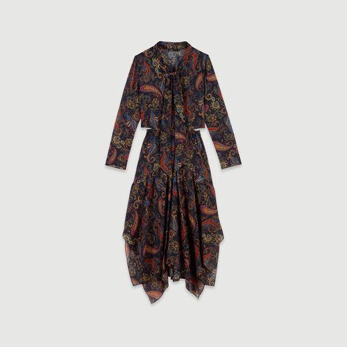 Baumwoll Foulard Kleid mit Print : Kleider farbe Marineblau