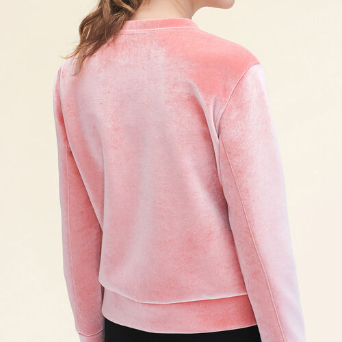 Gerades Sweatshirt aus Velours. : Pulls & Cardigans farbe Rosa