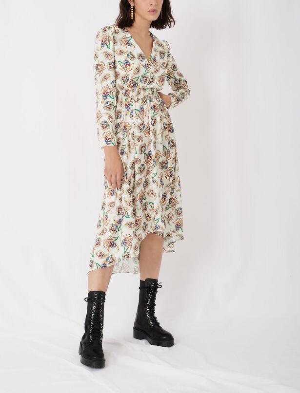 마쥬 원피스 MAJE Gesmoktes Kleid aus bedrucktem Satin,Paisley Ecru