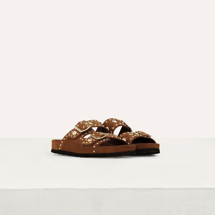 Leder Sandalen mit verzierten Studs : Flache Schuhe farbe Camel