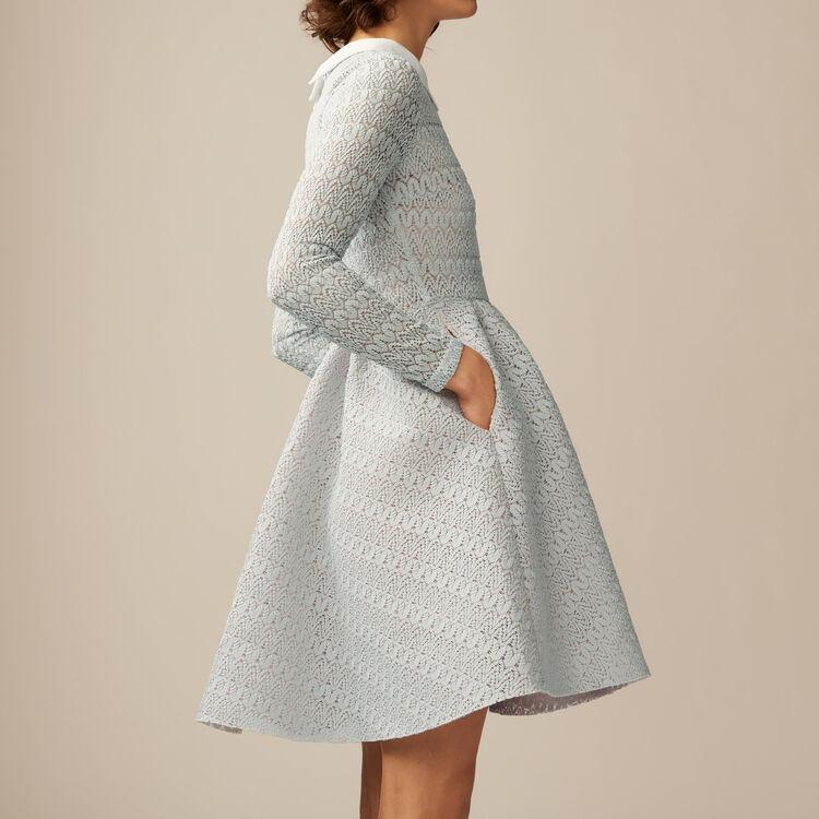 Corolla-Kleid aus Basket-Strick : Kleider farbe Himmelblau