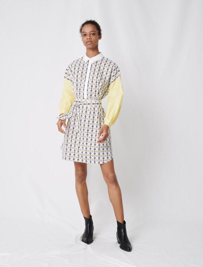 Hemdkleid aus bedruckter Baumwolle - Kleider - MAJE