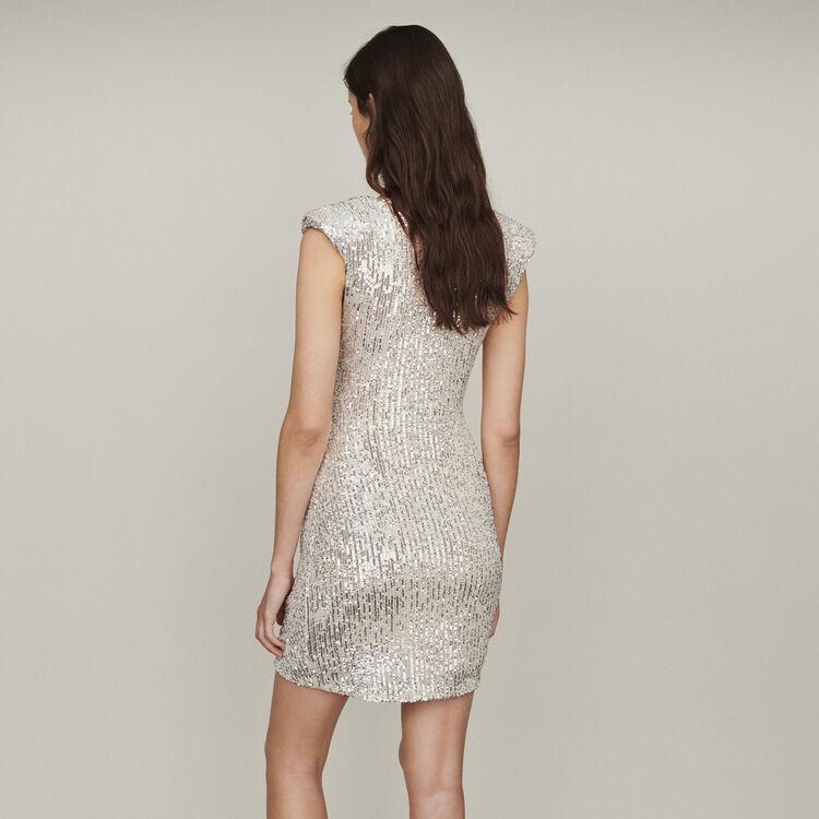 Ärmelloses Pailletten Kleid : Kleider farbe Silber