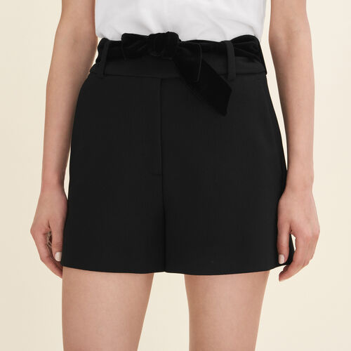 Shorts mit hohem Bund aus Crêpe - Röcke & Shorts - MAJE
