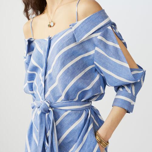 Gestreiftes schulterfreies Hemdkleid : Sommerkollektion farbe Blau