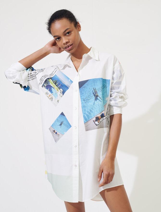 Oversize-Baumwollhemd mit Print - Tops & Hemden - MAJE