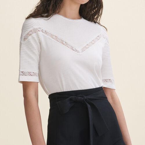 T-Shirt mit Spitzeborten : T-shirts farbe Schwarz