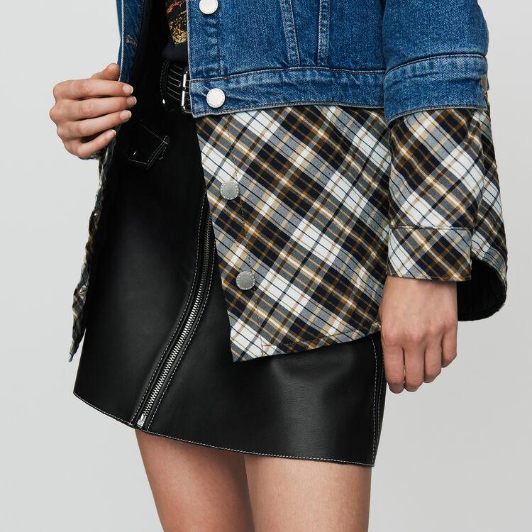 Jeansjacke mit Trompe-l'oeil-Effekt : Jacken farbe Denim