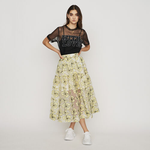 Organza skirt with flowers : Röcke & Shorts farbe Gelb