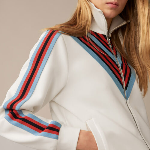 Trainingsjacke : Strickwaren farbe Weiss
