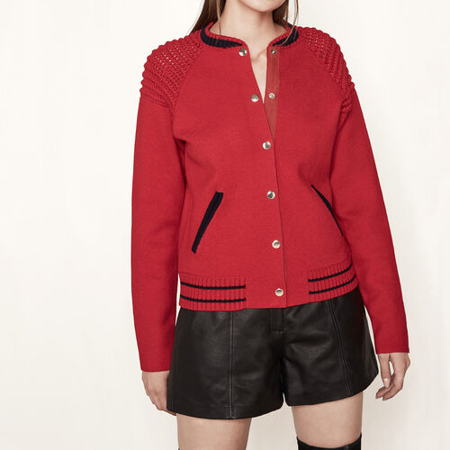 Strick-Cardigan im Bomber-Stil : Pullover und Cardigans farbe Rot