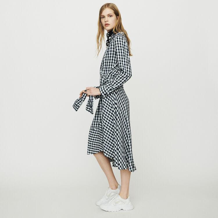 Halblanges Hemdkleid mit Vichy-Muster : Kleider farbe CARREAUX
