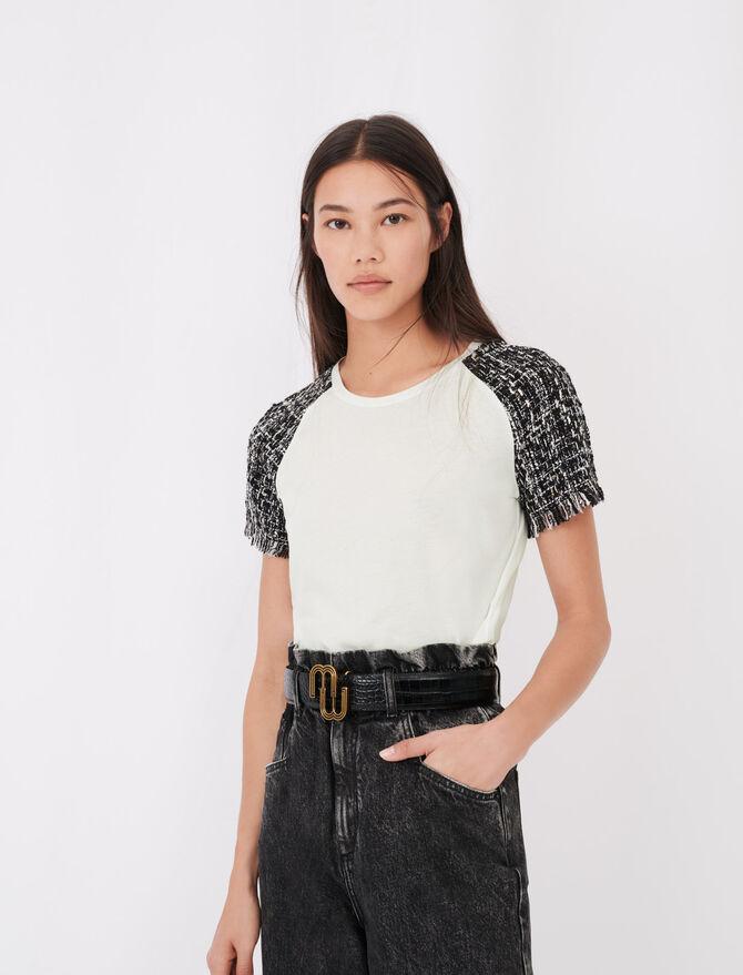 Kurzarm-T-Shirt in Tweed-Optik - Tops & Hemden - MAJE