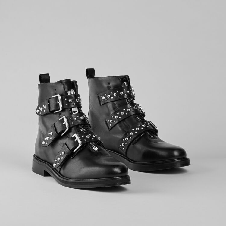Flat leather studded booties : Stiefel & Boots farbe Schwarz
