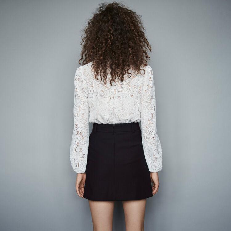 Krepp Rock mit konstrastierenden Knöpfen : Röcke & Shorts farbe Schwarz