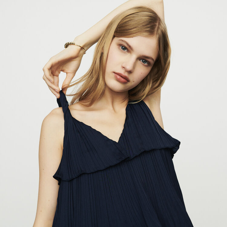 Langes Plissee Kleid aus Seide : Kleider farbe Marineblau
