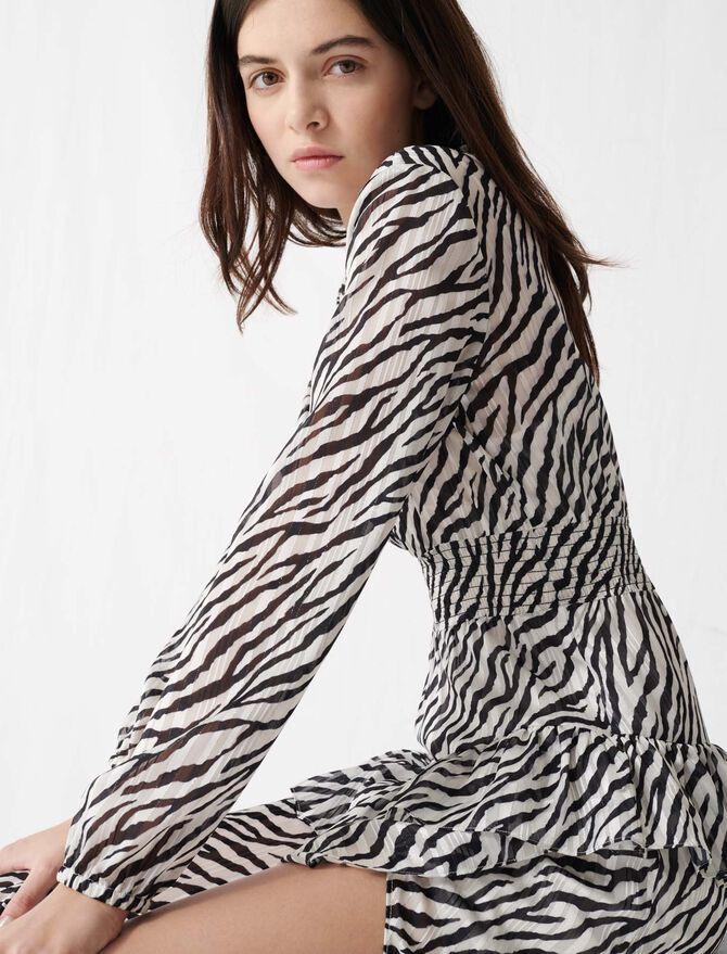 Asymmetrisches Kleid mit Print - Kleider - MAJE