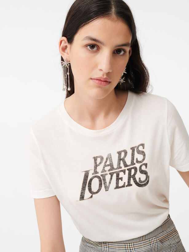 마쥬 반팔티 MAJE T-Shirt mit Siebdruck,Weiss