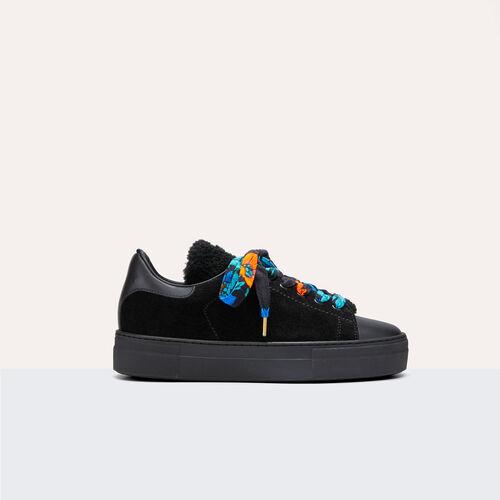 Leder-Turnschuhe aus Materialmix - Schuhe - MAJE